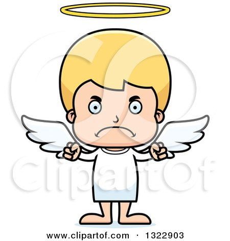 Clipart of a Cartoon Mad Blond White Boy Angel - Royalty Free Vector Illustration by Cory Thoman