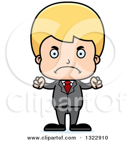 Clipart of a Cartoon Mad Blond White Boy Businessman - Royalty Free Vector Illustration by Cory Thoman
