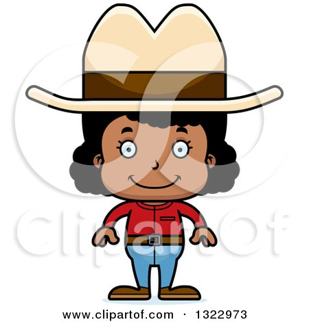 Clipart of a Cartoon Happy Black Cowgirl - Royalty Free Vector Illustration by Cory Thoman