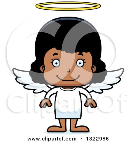 Clipart of a Cartoon Happy Black Girl Angel - Royalty Free Vector Illustration by Cory Thoman