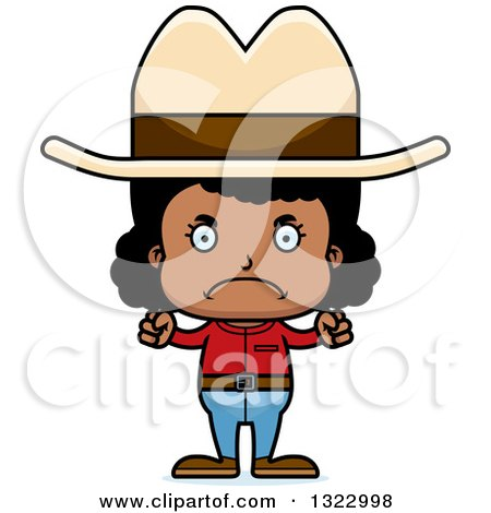 Clipart of a Cartoon Mad Black Cowgirl - Royalty Free Vector Illustration by Cory Thoman