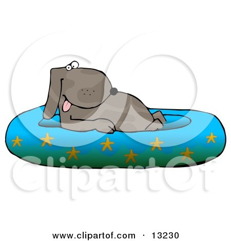 Happy Dog Soaking in a Kiddie Pool Decorated With Starfish Clipart Illustration by djart