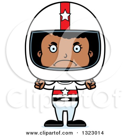 Clipart of a Cartoon Mad Black Girl Race Car Driver - Royalty Free Vector Illustration by Cory Thoman