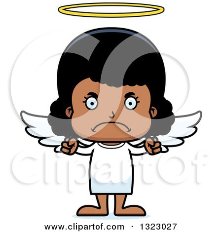 Clipart of a Cartoon Mad Black Girl Angel - Royalty Free Vector Illustration by Cory Thoman