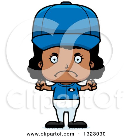 Clipart of a Cartoon Mad Black Softball Baseball Player Girl - Royalty Free Vector Illustration by Cory Thoman