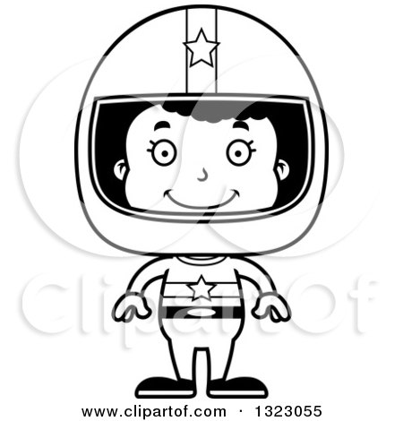 Lineart Clipart of a Cartoon Happy Black Girl Race Car Driver - Royalty Free Outline Vector Illustration by Cory Thoman