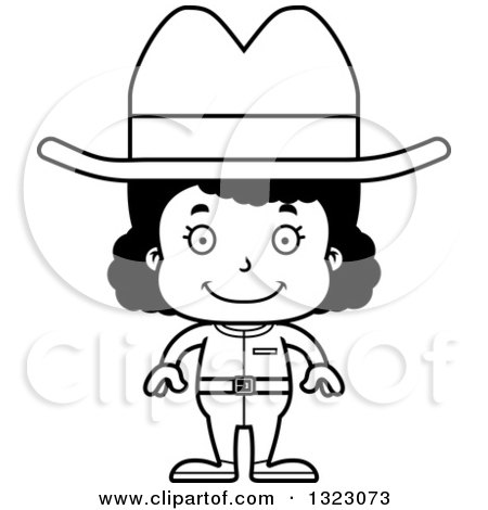 Lineart Clipart of a Cartoon Happy Black Cowgirl - Royalty Free Outline Vector Illustration by Cory Thoman