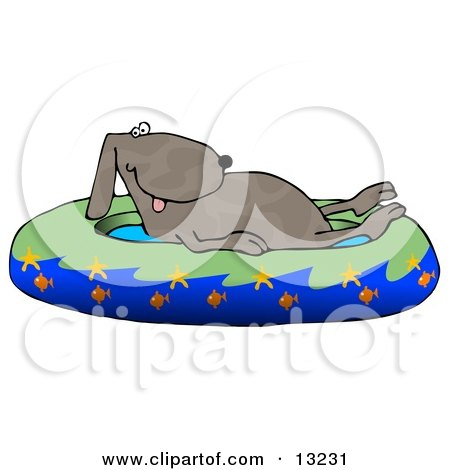 Hot Dog Soaking in a Kiddie Pool Decorated With Starfish and Goldfish Clipart Illustration by djart