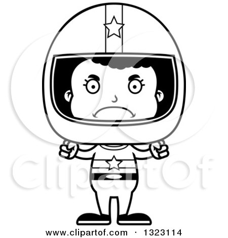 Lineart Clipart of a Cartoon Mad Black Girl Race Car Driver - Royalty Free Outline Vector Illustration by Cory Thoman