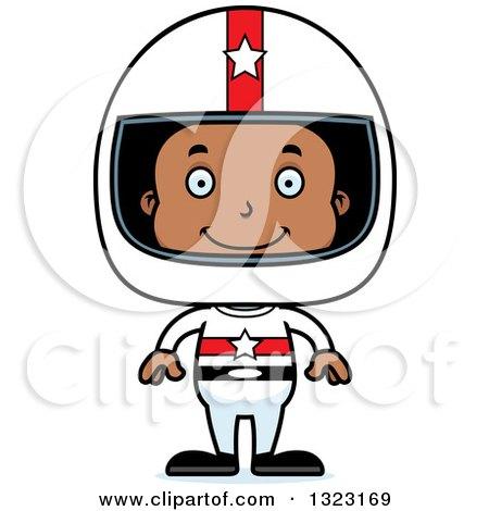 Clipart of a Cartoon Happy Black Boy Race Car Driver - Royalty Free Vector Illustration by Cory Thoman