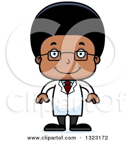 Clipart of a Cartoon Happy Black Boy Scientist - Royalty ...