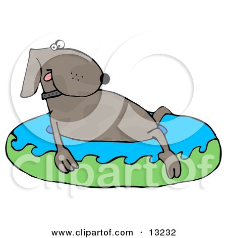 Cute Dog Soaking in a Kiddie Pool to Cool Off on a Hot Summer Day Clipart Illustration by djart