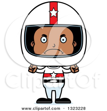 Clipart of a Cartoon Mad Black Boy Race Car Driver - Royalty Free Vector Illustration by Cory Thoman