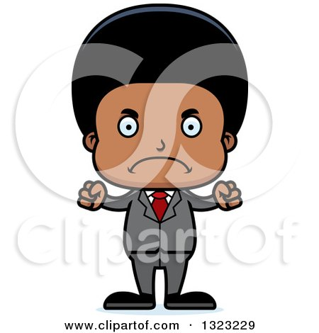 Clipart of a Cartoon Mad Black Business Boy - Royalty Free Vector Illustration by Cory Thoman