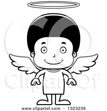 Lineart Clipart of a Cartoon Happy Black Angel Boy - Royalty Free Outline Vector Illustration by Cory Thoman