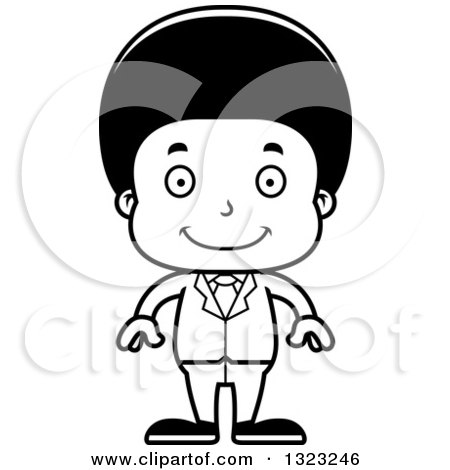 Lineart Clipart of a Cartoon Happy Black Business Boy - Royalty Free Outline Vector Illustration by Cory Thoman
