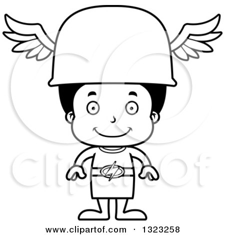 Lineart Clipart of a Cartoon Happy Black Hermes Boy - Royalty Free Outline Vector Illustration by Cory Thoman