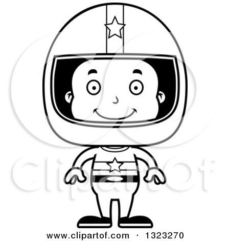 Lineart Clipart of a Cartoon Happy Black Boy Race Car Driver - Royalty Free Outline Vector Illustration by Cory Thoman