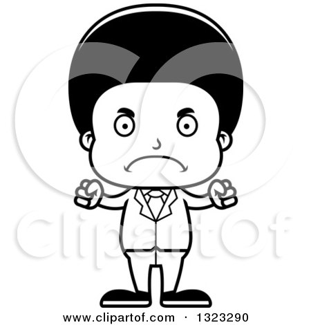 Lineart Clipart of a Cartoon Mad Black Business Boy - Royalty Free Outline Vector Illustration by Cory Thoman