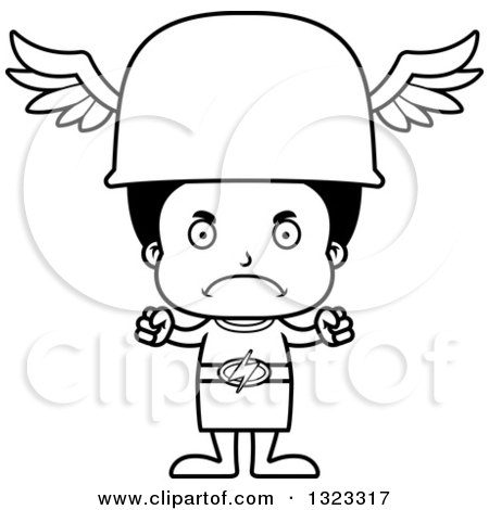 Lineart Clipart of a Cartoon Mad Black Hermes Boy - Royalty Free Outline Vector Illustration by Cory Thoman