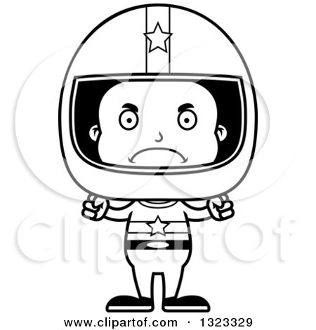 Lineart Clipart of a Cartoon Mad Black Boy Race Car Driver - Royalty Free Outline Vector Illustration by Cory Thoman