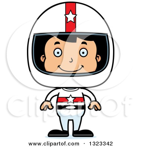 Clipart of a Cartoon Happy Hispanic Boy Race Car Driver - Royalty Free Vector Illustration by Cory Thoman