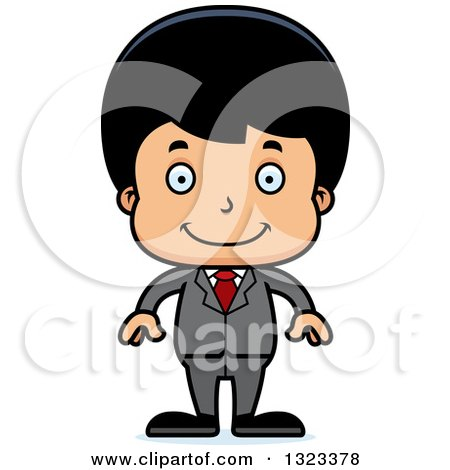 Clipart of a Cartoon Happy Hispanic Business Boy - Royalty Free Vector Illustration by Cory Thoman
