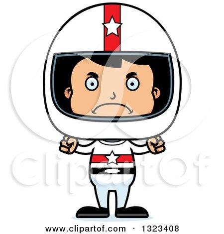 Clipart of a Cartoon Mad Hispanic Boy Race Car Driver - Royalty Free Vector Illustration by Cory Thoman