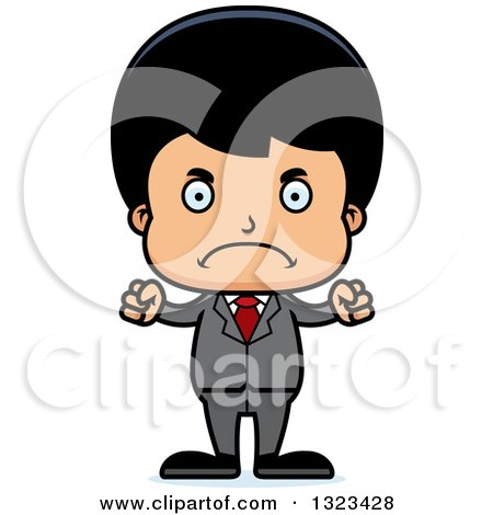 Clipart of a Cartoon Mad Hispanic Business Boy - Royalty Free Vector Illustration by Cory Thoman