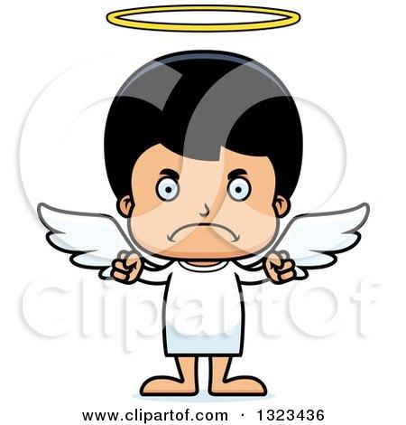 Clipart of a Cartoon Mad Hispanic Boy Angel - Royalty Free Vector Illustration by Cory Thoman