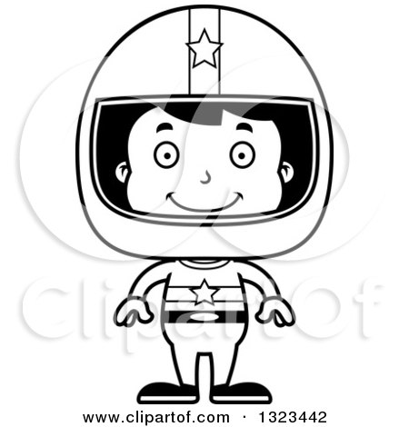 Lineart Clipart of a Cartoon Black and White Happy Hispanic Boy Race Car Driver - Royalty Free Outline Vector Illustration by Cory Thoman