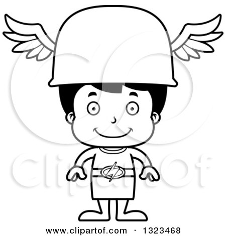 Lineart Clipart of a Cartoon Black and White Happy Hispanic Hermes Boy - Royalty Free Outline Vector Illustration by Cory Thoman