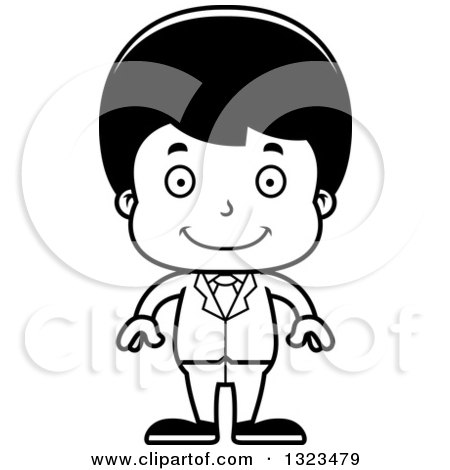 Lineart Clipart of a Cartoon Black and White Happy Hispanic Business Boy - Royalty Free Outline Vector Illustration by Cory Thoman