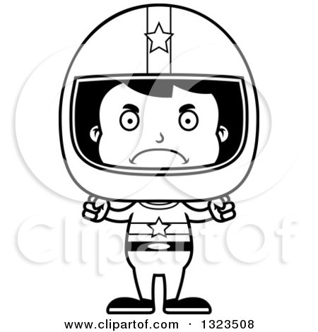 Lineart Clipart of a Cartoon Black and White Mad Hispanic Boy Race Car Driver - Royalty Free Outline Vector Illustration by Cory Thoman