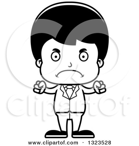 Lineart Clipart of a Cartoon Black and White Mad Hispanic Business Boy - Royalty Free Outline Vector Illustration by Cory Thoman