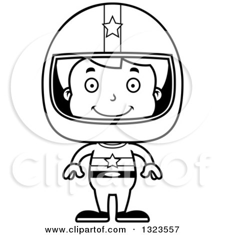 Lineart Clipart of a Cartoon Black and White Happy Boy Race Car Driver - Royalty Free Outline Vector Illustration by Cory Thoman