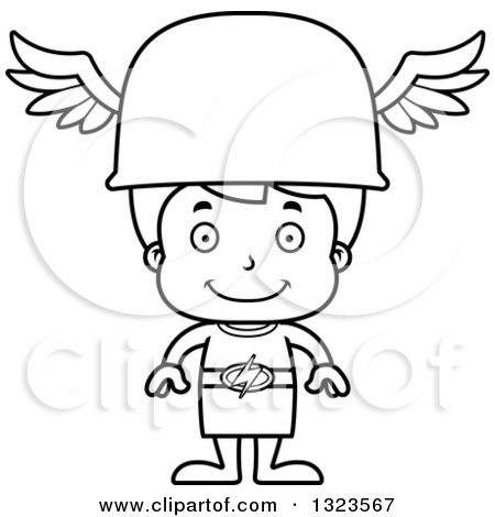 Lineart Clipart of a Cartoon Black and White Happy Hermes Boy Boy - Royalty Free Outline Vector Illustration by Cory Thoman