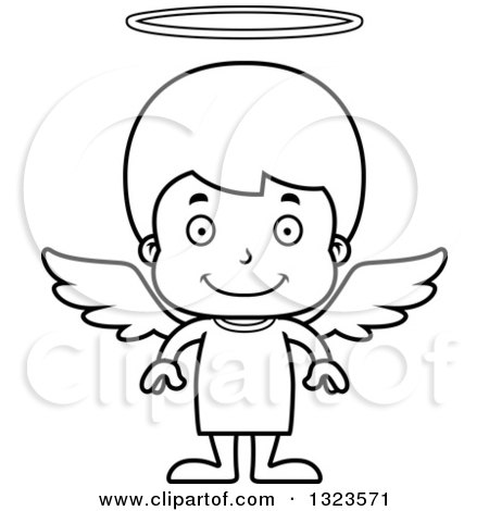 Lineart Clipart of a Cartoon Black and White Happy Boy Angel - Royalty Free Outline Vector Illustration by Cory Thoman