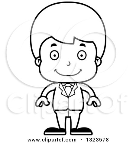 Lineart Clipart of a Cartoon Black and White Happy Boy Businessman - Royalty Free Outline Vector Illustration by Cory Thoman