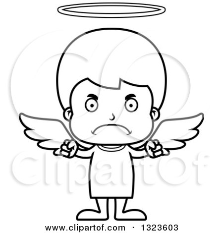 Lineart Clipart of a Cartoon Black and White Mad Boy Angel - Royalty Free Outline Vector Illustration by Cory Thoman