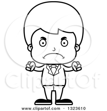 Lineart Clipart of a Cartoon Black and White Mad Boy Businessman - Royalty Free Outline Vector Illustration by Cory Thoman