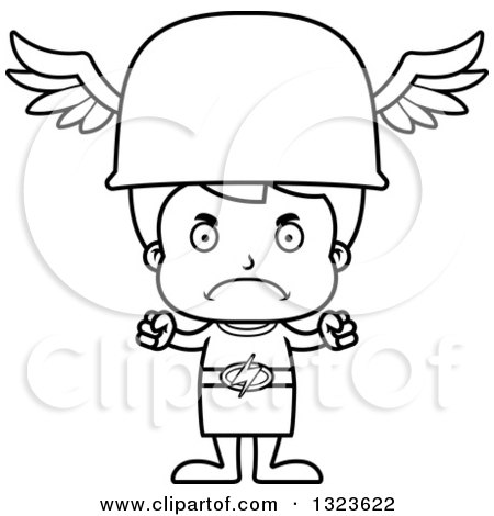 Lineart Clipart of a Cartoon Black and White Mad Hermes Boy Boy - Royalty Free Outline Vector Illustration by Cory Thoman