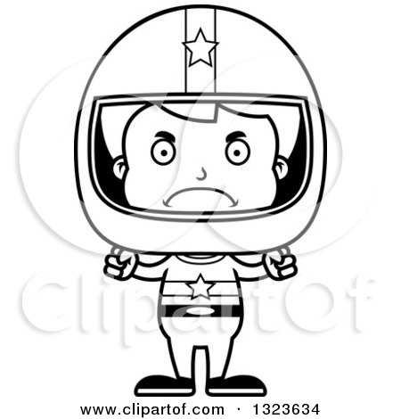 Lineart Clipart of a Cartoon Black and White Mad Boy Race Car Driver - Royalty Free Outline Vector Illustration by Cory Thoman