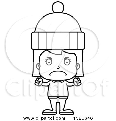 Outline Clipart of a Cartoon Black and White Mad Girl in Winter Clothes - Royalty Free Lineart Vector Illustration by Cory Thoman
