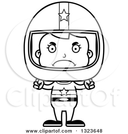 Outline Clipart of a Cartoon Black and White Mad Race Car Driver Girl - Royalty Free Lineart Vector Illustration by Cory Thoman