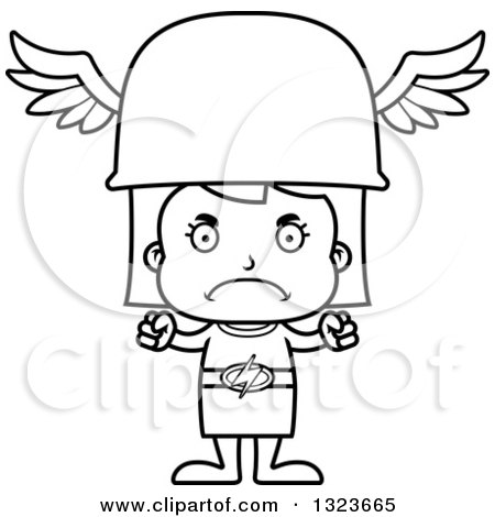 Outline Clipart of a Cartoon Black and White Mad Hermes Girl - Royalty Free Lineart Vector Illustration by Cory Thoman