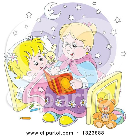Clipart of a Cartoon Blond White Granny Reading a Bedtime Story to Her Granddaughter - Royalty Free Vector Illustration by Alex Bannykh