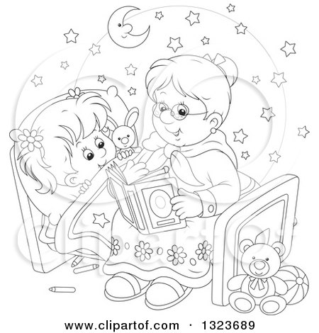 Outline Clipart of a Cartoon Black and White Granny Reading a Bedtime Story to Her Granddaughter - Royalty Free Lineart Vector Illustration by Alex Bannykh