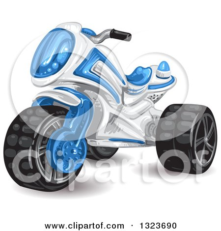 Clipart of a Boys Blue and White Tough Trike Toy - Royalty Free Vector Illustration by merlinul