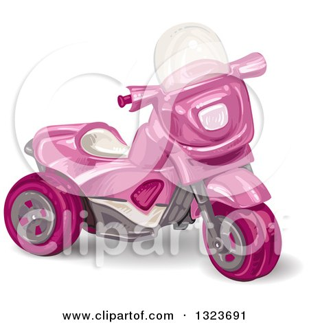Clipart of a Girls Pink Trike Toy - Royalty Free Vector Illustration by merlinul